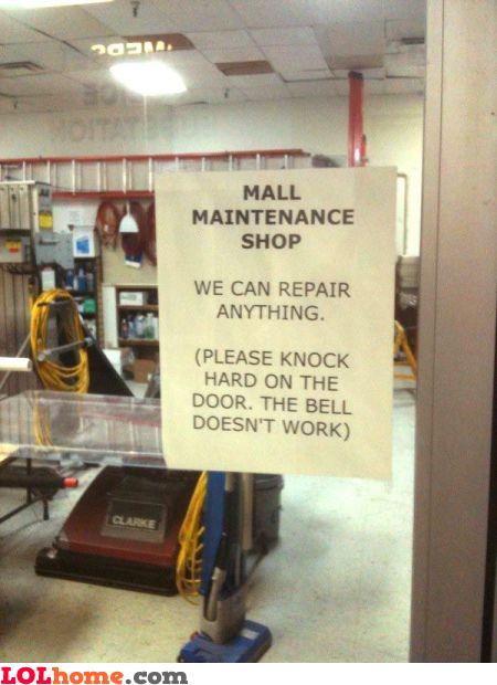 Mall maintenance shop