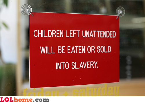 Unattended children warning