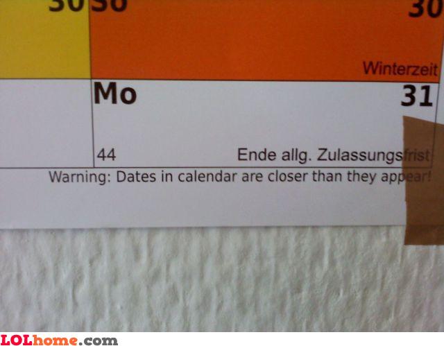 Calendar warning