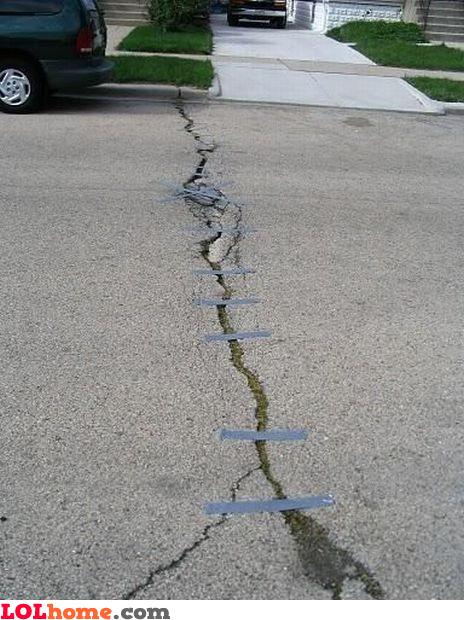 Duct tape street repairs