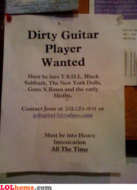Dirty guitar player wanted