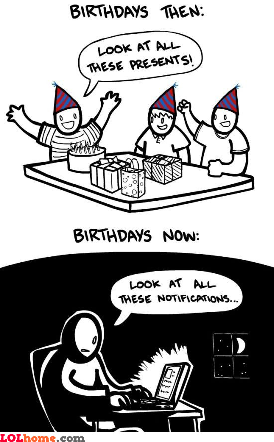 Birthdays then and now