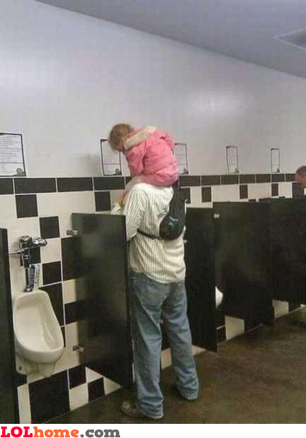 Wait till daddy pees