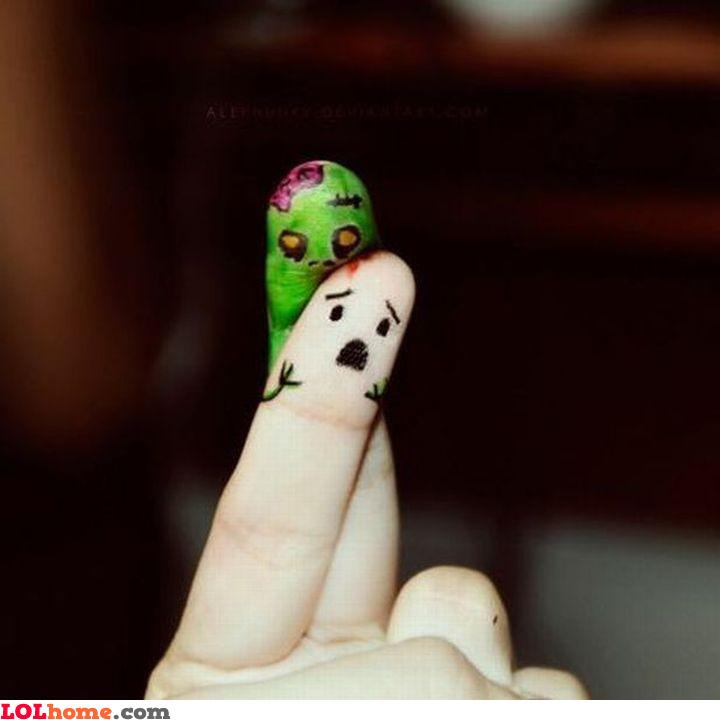 paint finger zombie