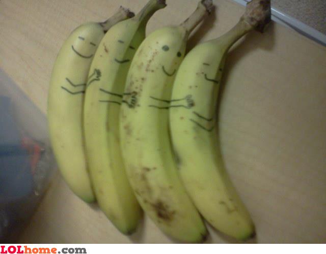 Banana Funny hug in row
