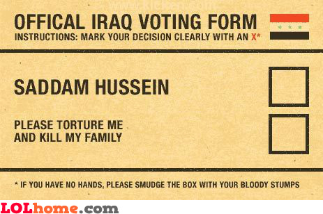 Official Iraq voting form