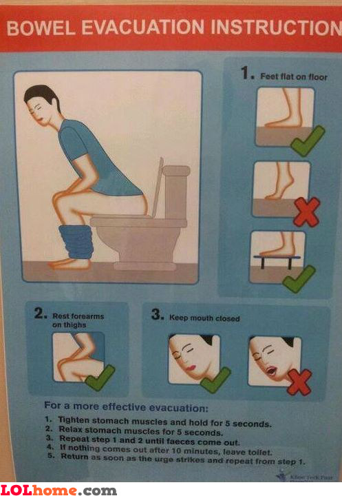 Bowel evacuation instructions
