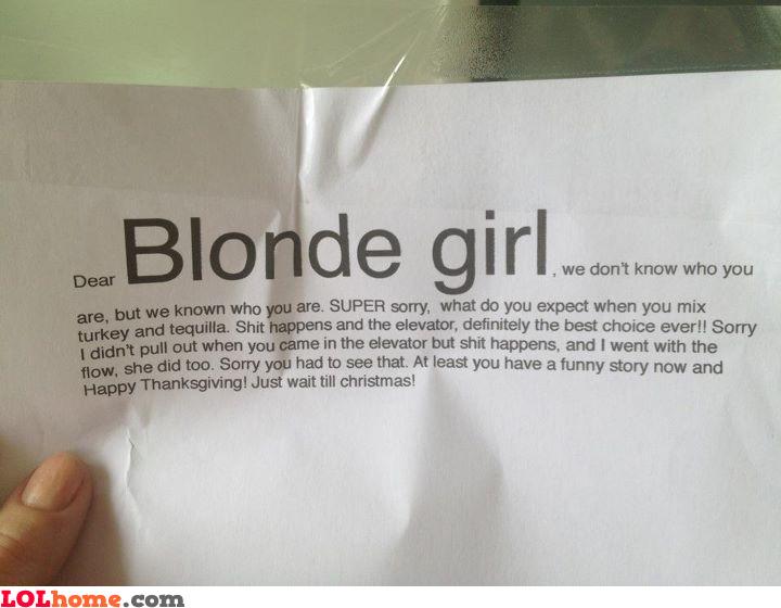 Dear blonde girl