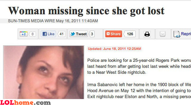 Missing since she got lost