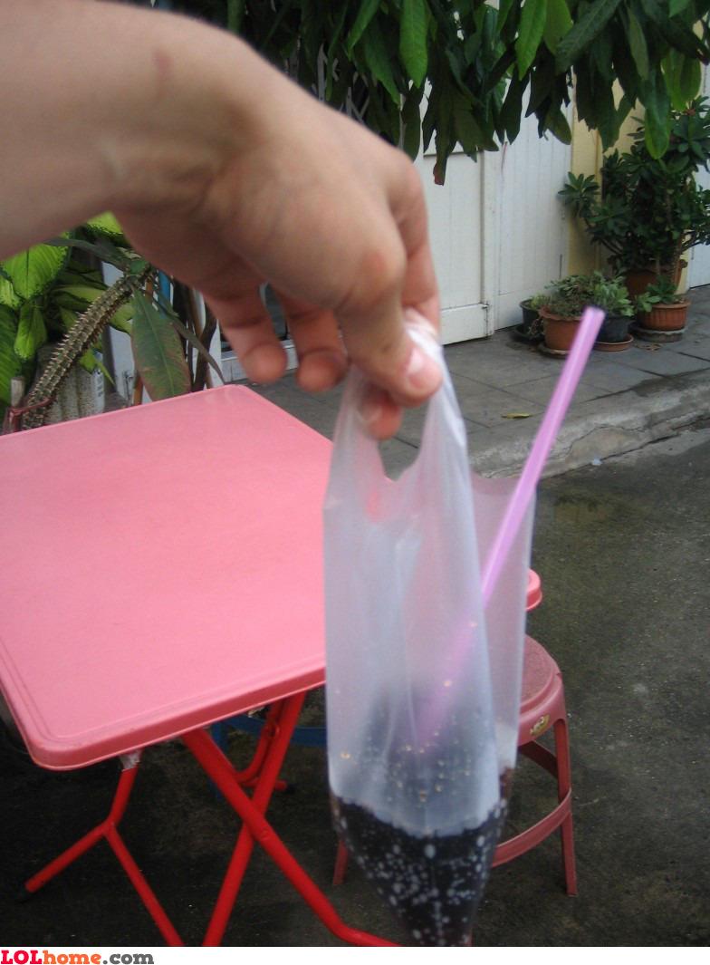 Soda in a plastic bag