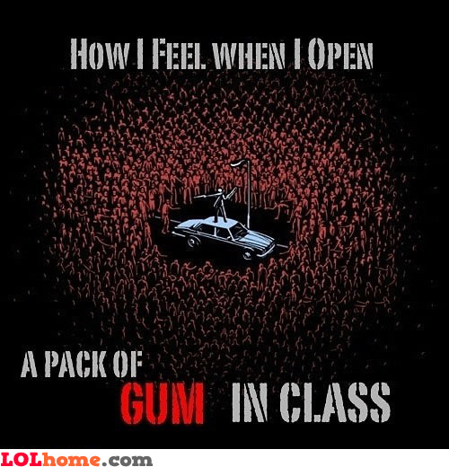 Opening a pack of gum in class