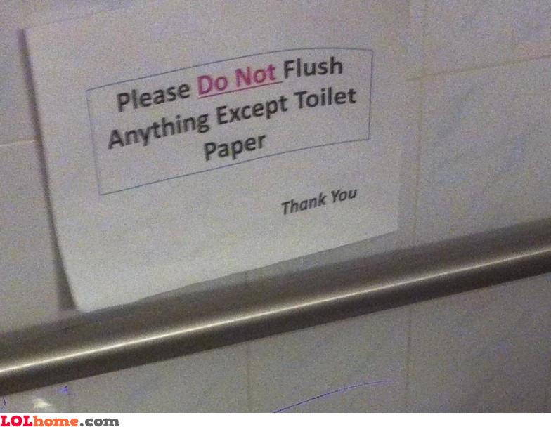 Do not flush anything