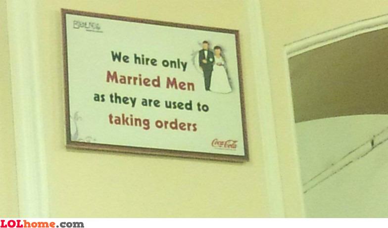 Married men take orders