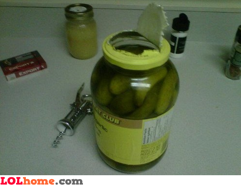 Opened pickle jar
