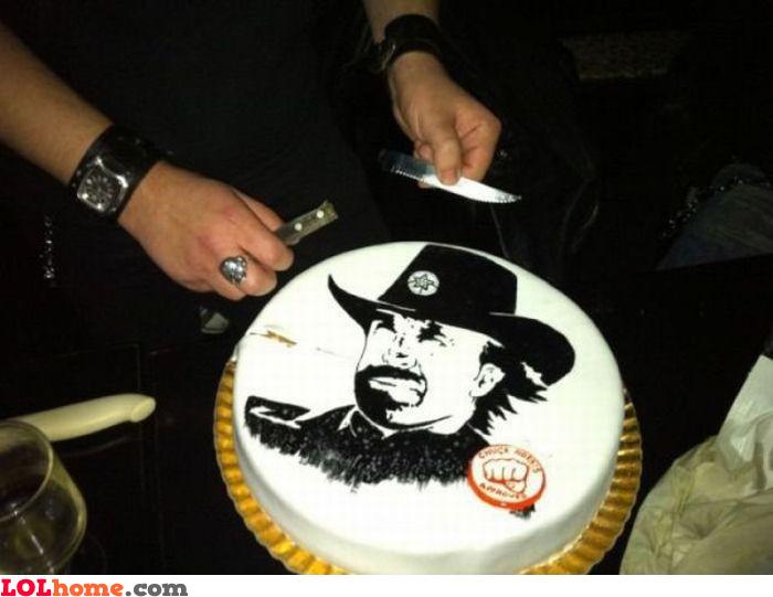 You cannot cut a Chuck Norris cake