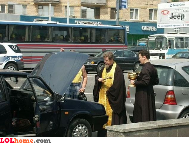 Fix the car with holy water
