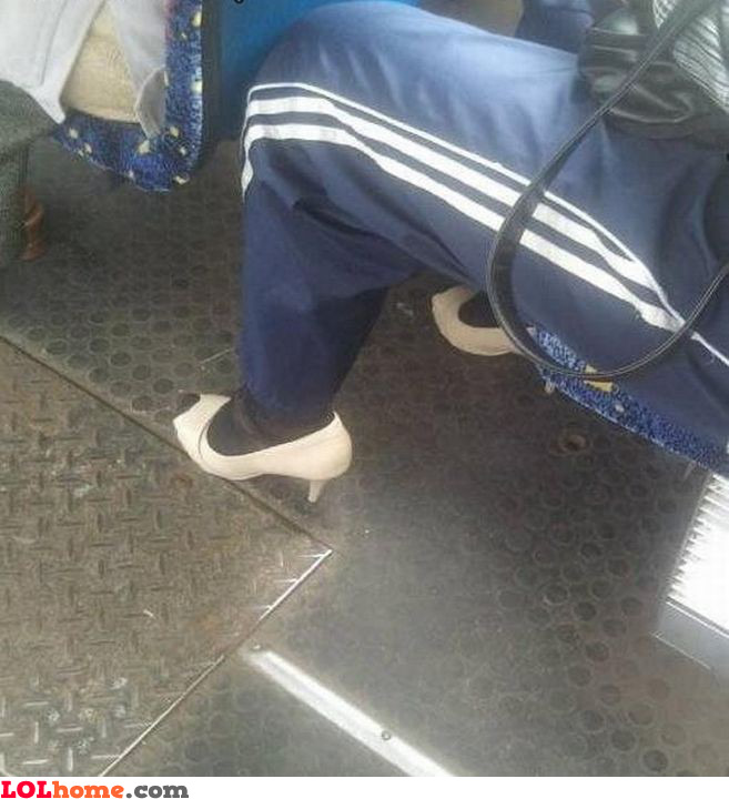 Heels and sweat pants