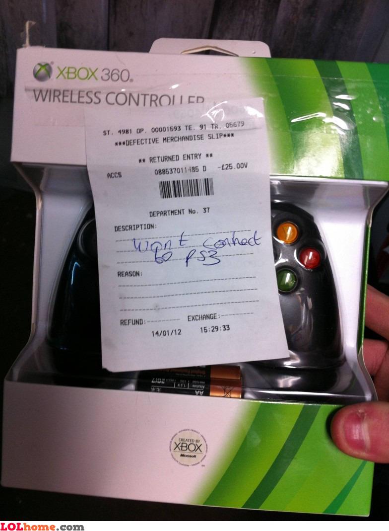 Defective Xbox controller