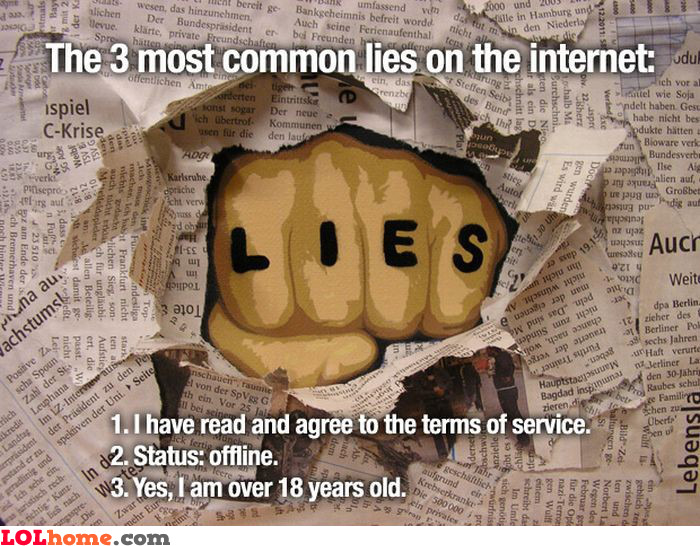 Common lies on the Internet