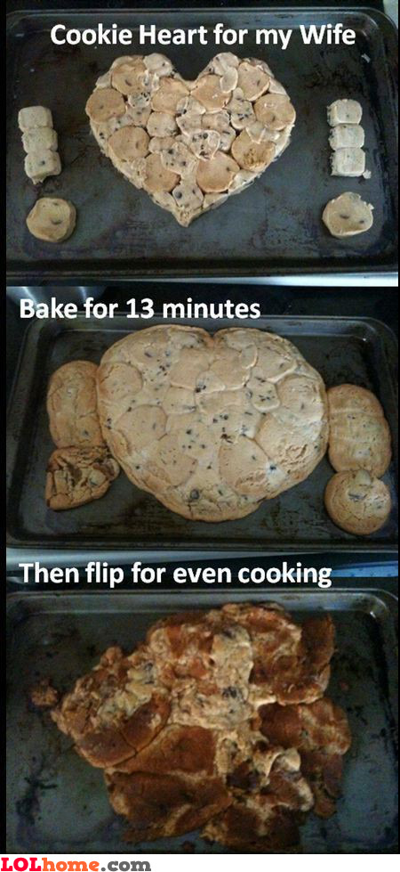 Baking a cookie heart