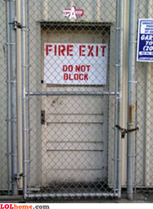 Blocked fire exit