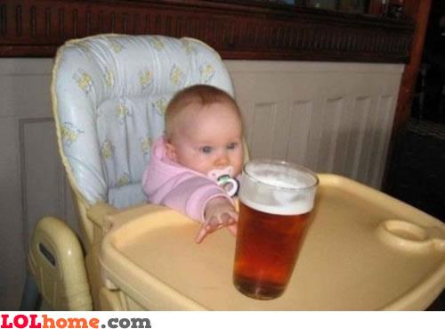 Baby wants the beer