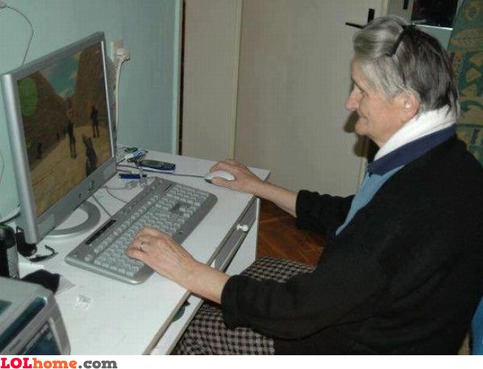 Grandma playing Counter-Strike