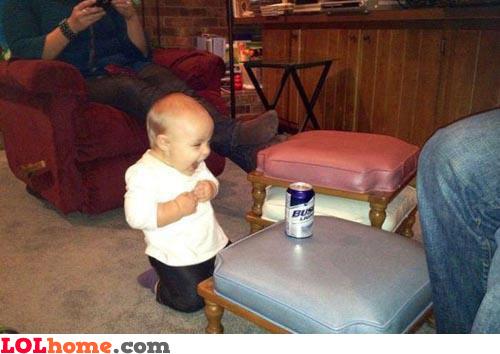 Baby loves beer!