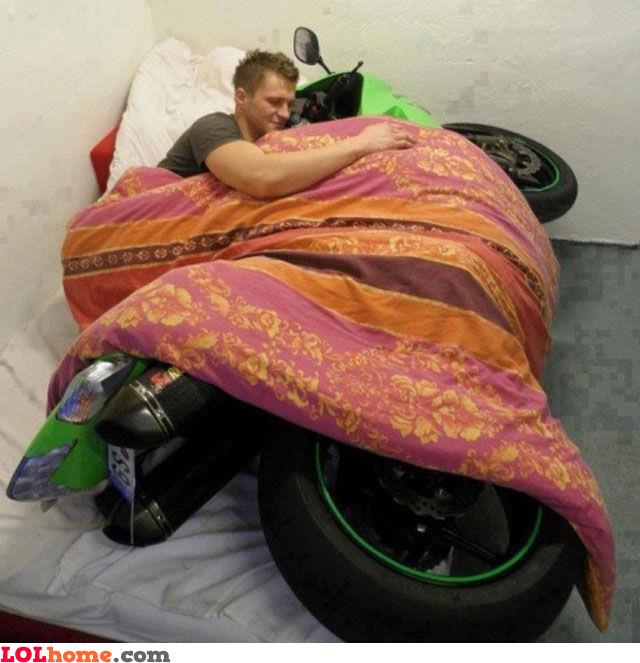 Loving his moto