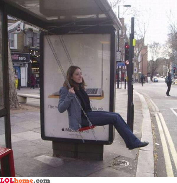 Swinging in the bus station