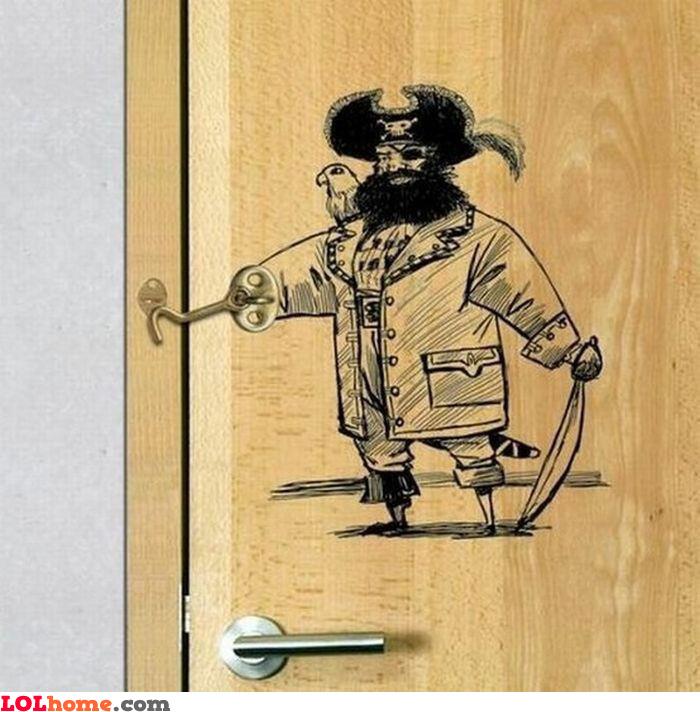Sticker on the door