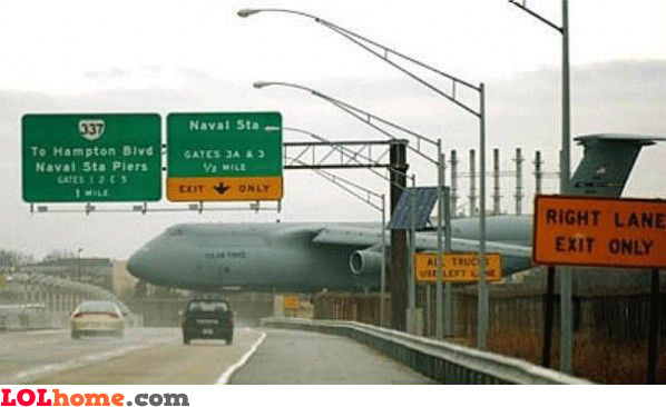 airplane on highway