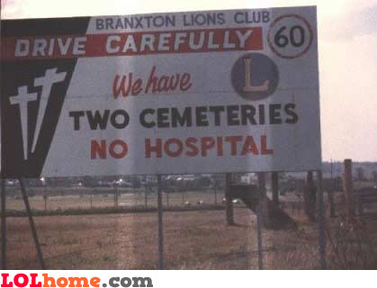 two cemeteries... no hospital!