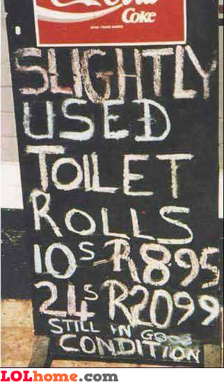 Slightly used toilet rolls