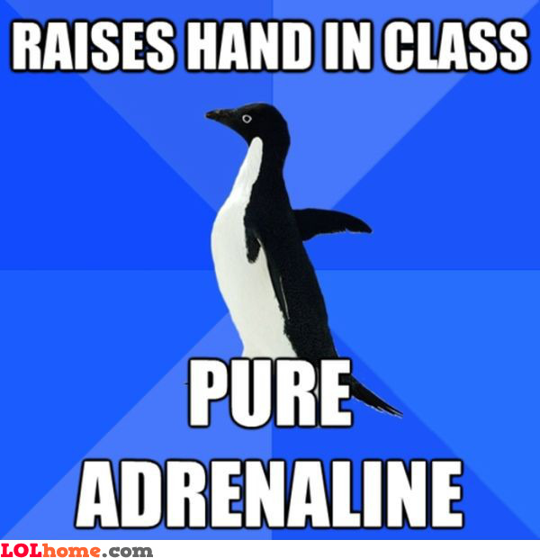 Raising your hand in class