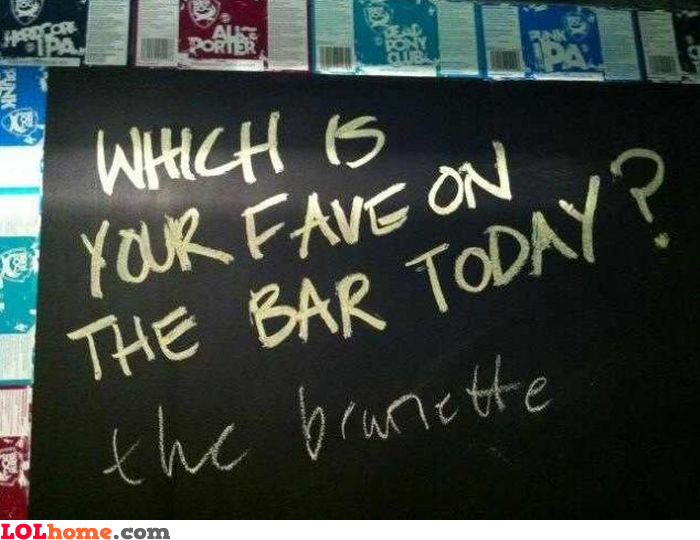 Fave on the bar