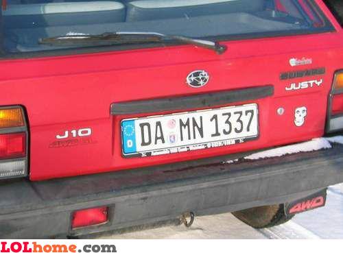 Damn license plate