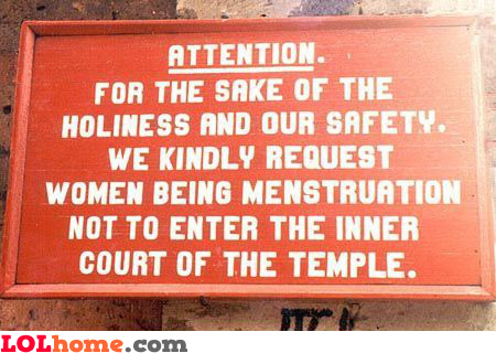 For the sake of the holiness and our safety