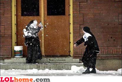 Nun snow fight