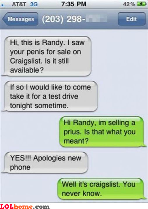 Craiglist, you never know