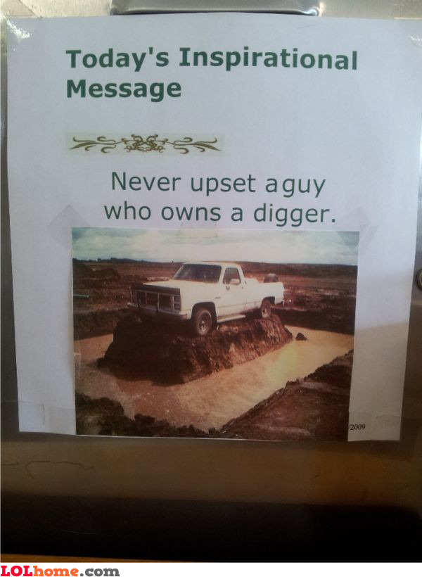 funny image Guy with a digger