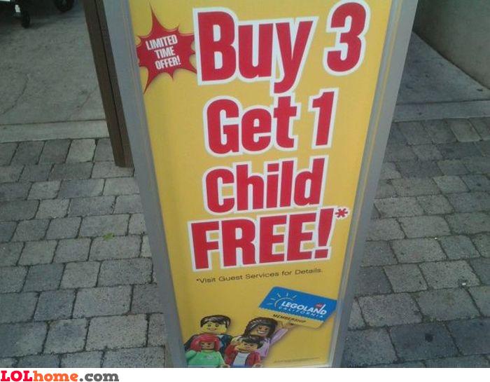 Get 1 free child